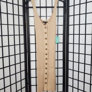 Forever 21 Tan Sleeveless Ribbed Knit Dress